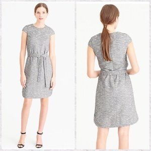 J Crew Belted Crew Neck Cap Sleeve Tweed Dress 12